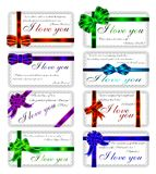 L'ensemble de cartes avec des citations au sujet de l'amour. Anglais.  Photos libres de droits
