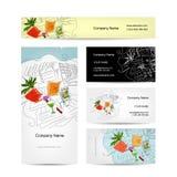 L'ensemble de cartes de visite professionnelle de visite conçoivent, cocktail en plage Photographie stock