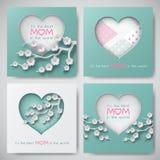 L'ensemble de cartes de voeux pour le jour du ` s de mère avec le texte de félicitation, les formes de papier a décoré les fleurs illustration de vecteur