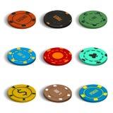 L'ensemble de casino différent ébrèche dans 3D, illustration de vecteur Photo stock