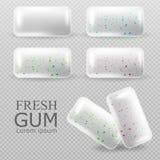 L'ensemble de chewing-gum dirigent réaliste Tablettes sur le fond transparent Fruit de fraise et saveur en bon état illustrations photo libre de droits