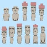 L'ensemble de chiffres humains monolithiques de Moai a découpé par les personnes de Rapa Nui sur l'île polynésienne chilienne Pâq illustration libre de droits