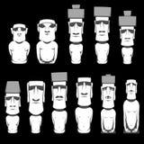 L'ensemble de chiffres humains monolithiques de Moai a découpé par les personnes de Rapa Nui sur l'île polynésienne chilienne Pâq illustration de vecteur