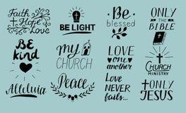 L'ensemble de chrétien de lettrage de 12 mains cite seulement Jésus Amour un un autre Ministère d'église alléluia Soyez lumière b illustration stock