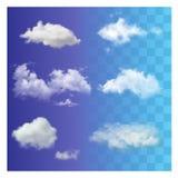 L'ensemble de ciel blanc transparent différent très réaliste opacifie Photographie stock