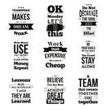 L'ensemble de citations inspirées au sujet de travail et le vecteur d'équipe conçoivent d'isolement sur le fond blanc Peut être e Images stock