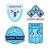 L'ensemble de clôture folâtre des logos, icônes, labels, les emblèmes, insignes sur le fond blanc illustration libre de droits