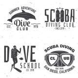 L'ensemble de club de plongée à l'air et l'école de plongée conçoivent Images libres de droits