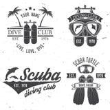 L'ensemble de club de plongée à l'air et l'école de plongée conçoivent Photographie stock libre de droits