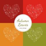 L'ensemble de coeur de feuilles d'automne conçoit le contour blanc sur rouge, jaune et vert illustration libre de droits