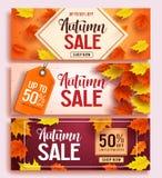 L'ensemble de conception de bannière de vecteur de vente d'automne avec l'érable coloré laisse des éléments illustration de vecteur