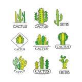 L'ensemble de conception de logo de cactus, vert d'usine de désert badges des illustrations de vecteur sur un fond blanc illustration de vecteur