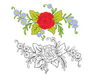 L'ensemble de contour et de vintage coloré fleurit le bouquet ou le modèle Photos libres de droits