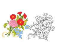 L'ensemble de contour et de vintage coloré fleurit le bouquet ou le modèle Images stock