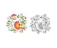 L'ensemble de contour et de vintage coloré fleurit le bouquet ou le modèle Photo stock
