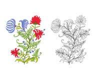L'ensemble de contour et de vintage coloré fleurit le bouquet ou le modèle Image stock