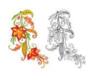 L'ensemble de contour et de vintage coloré fleurit le bouquet ou le modèle illustration de vecteur
