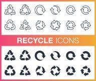 L'ensemble de contour et réutilisent à plat des icônes Image stock
