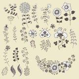 L'ensemble de contour fleurit des elemments Fleurs, branches, baies illustration de vecteur