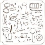L'ensemble de cosmétique mignon gribouille la collection Photographie stock