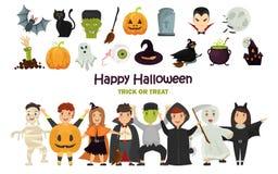 L'ensemble de couleur a costumé des filles et des garçons Icônes de couleur de Halloween réglées illustration libre de droits