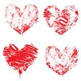 L'ensemble de couleur rouge grunge figure - des coeurs D'isolement sur le dos de blanc Photo stock