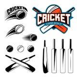 L'ensemble de cricket folâtre des éléments de logo de calibre - boule, batte L'utilisation pendant que les icônes, badges, label  Photo libre de droits