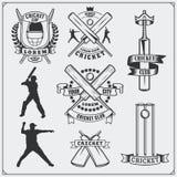 L'ensemble de cricket folâtre des symboles, des labels, des logos et des éléments de conception Emblèmes de cricket et éléments d Images libres de droits