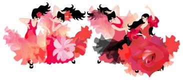 L'ensemble de danse espagnole Quatre belles filles aux cheveux noirs dans des robes rouges dansant le flamenco Composition de lux illustration libre de droits