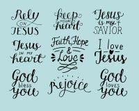 L'ensemble de Dieu chrétien de 9 de main citations de lettrage vous bénissent Comptez sur Jésus réjouissez-vous Foi, espoir, amou illustration libre de droits