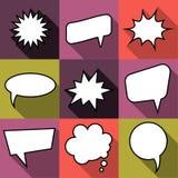 L'ensemble de discours comique de ballon de neuf bandes dessinées bouillonne dans le style plat Photo libre de droits