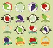 L'ensemble de divers fruit frais et la qualité de la meilleure qualité végétale étiquettent Photos stock
