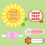 L'ensemble de diverse zone de texte, tournesol, tomate, aile de coeur, copie de pied animal Illustration Stock