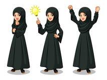 L'ensemble de femme d'affaires arabe dans la robe noire ayant des idées font des gestes Image stock
