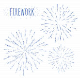 L'ensemble de feu d'artifice de fête de croquis éclatant dans le divers scintillement forme l'illustration abstraite Images stock