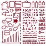 L'ensemble de flèches tirées par la main d'éléments, lignes, graphiques, lettres, maths signe illustration stock