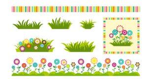 L'ensemble de fleurs et l'herbe conçoivent des éléments pour des cartes de voeux et des labels illustration de vecteur