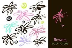 L'ensemble de fleurs tirées par la main, de feuille verte, de croquis et de griffonnages des fleurs et des plantes roses, fleurit Photo libre de droits