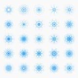 L'ensemble de flocon de neige bleu d'hiver de Noël 25 sur le fond blanc pour l'hiver de Noël et de nouvelle année conçoivent Images libres de droits
