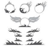 L'ensemble de formes de flamme pour créent le logotype Photo libre de droits