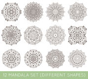L'ensemble de fractale ethnique Mandala Vector Meditation Tattoo regarde le lik Image stock