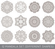 L'ensemble de fractale ethnique Mandala Vector Meditation Tattoo regarde le lik Photographie stock