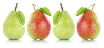L'ensemble de fruit de poire de poires porte des fruits dans une rangée d'isolement sur le blanc Photographie stock libre de droits