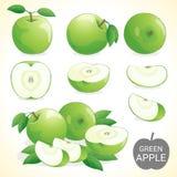 L'ensemble de fruit vert de pomme dans divers styles dirigent le format Photos libres de droits
