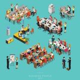 L'ensemble de gens d'affaires isométriques de réunion de travail d'équipe dans le bureau, partagent l'idée, conception infographi illustration stock