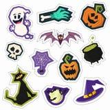 L'ensemble de goupille colorée de partie de Halloween d'amusement badges Collection de Br Photographie stock libre de droits