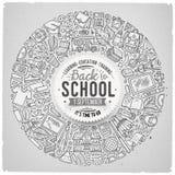 L'ensemble de griffonnage de bande dessinée d'école objecte, des symboles et des articles Photographie stock