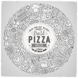 L'ensemble de griffonnage de bande dessinée de pizza objecte, des symboles et des articles Image libre de droits