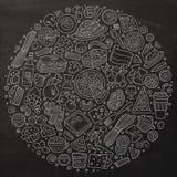 L'ensemble de griffonnage italien de bande dessinée de nourriture objecte, des symboles et des articles illustration de vecteur
