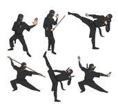 L'ensemble de guerriers japonais de ninja s'est habillé dans le noir avec des épées et d'autres armes Illustration de vecteur, d' illustration de vecteur